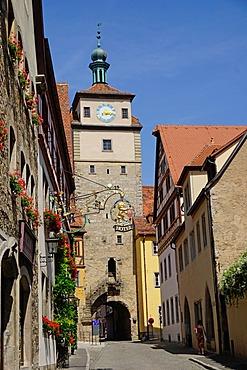 White Tower,, Rothenburg ob der Tauber, Romantic Road, Franconia, Bavaria, Germany, Europe