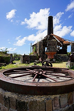 Derelict old sugar mill, Nevis, St. Kitts and Nevis, Leeward Islands, West Indies, Caribbean, Central America