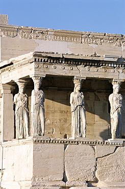 Portico of the Caryatids, Erechtheion, Acropolis, UNESCO World Heritage Site, Athens, Greece, Europe