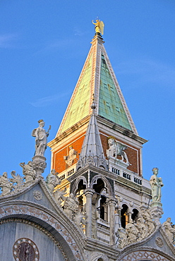 Campanile and detail of the facade of the Basilica di San Marco, dating from the 11th century, Piazza San Marco, San Marco, Venice, UNESCO World Heritage Site, Veneto, Italy, Europe