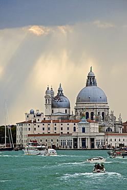 Punta della Dogana, and Santa Maria della Salute church behind, Venice, UNESCO World Heritage Site, Veneto, Italy, Europe