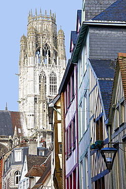 Detail of Central Tower of Saint Maclou church dating from the 15th century, and half timbered houses, Rouen, Upper Normandy, France, Europe