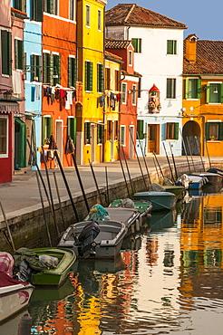 Colored house facades along a canal, Burano island, Venice, UNESCO World Heritage Site, Veneto, Italy, Europe