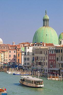 Vaporetto on the Grand Canal and church dome, Venice, UNESCO World Heritage Site, Veneto, Italy, Europe