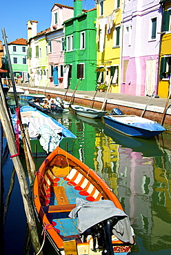 Fishing boats, canal and colored facades, Burano Island, Venice, UNESCO World Heritage Site, Veneto, Italy, Europe