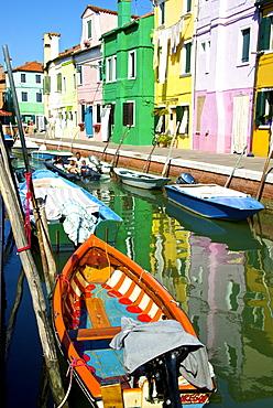 Fishing boats, canal and colored facades, Burano Island, Venice, UNESCO World Heritage Site, Veneto, Italy, Europe