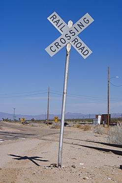 Railroad crossing sign, Cima, California, United States of America, North America