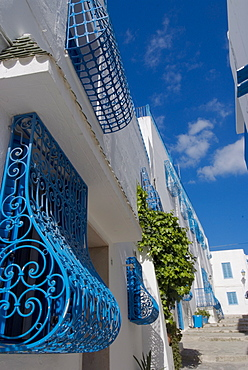 Town detail, Sidi Bou Said, near Tunis, Tunisia, North Africa, Africa
