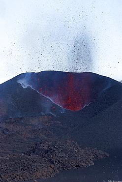 Lava erupting from cinder cone, Eyjafjallajokull volcano, Iceland, Polar Regions