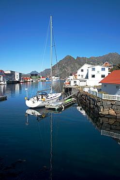 View of Henningsvaer Harbour, Lofoten Islands, Nordland, Norway, Scandinavia, Europe