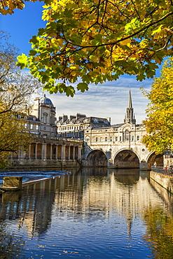 Pulteney Bridge, Bath, UNESCO World Heritage Site, Avon, Somerset, England, United Kingdom, Europe