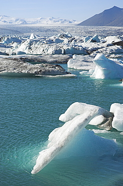 Icebergs in the glacial melt water lagoon at Jokulsarlon, Breidamerkurjokull, South area, Iceland, Polar Regions