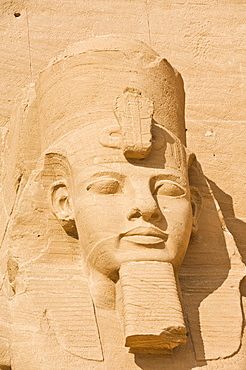 Close up of the head of a giant statue of the great pharaoh Rameses II outside the relocated Temple Rameses II at Abu Simbel, UNESCO World Heritage Site, Egypt, North Africa, Africa