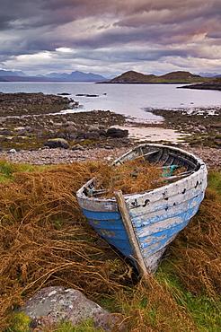 Sunset, old blue fishing boat, Inverasdale, Loch Ewe, Wester Ross, north west Scotland, United Kingdom, Europe