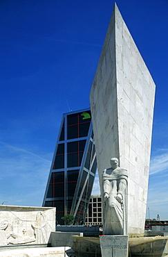Spain, Madrid, Plaza De Castilla Square & Kio Towers