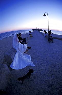Spain, Andaloucia, Cadiz, Just Married Couple At Night Fall
