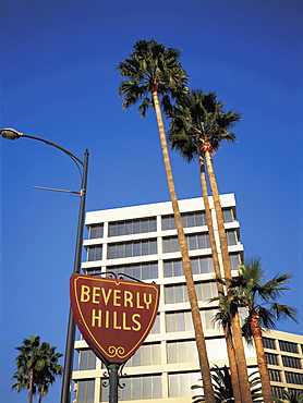 Usa, Los Angeles, Beverly Hills, Buildings & City Sign