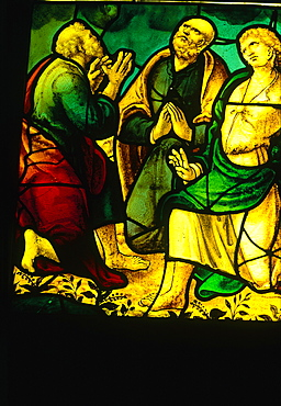 France, Pays De La Loire, Loire Atlantique (44), Nantes, Medieval Stained Glass Window In The Cathedral