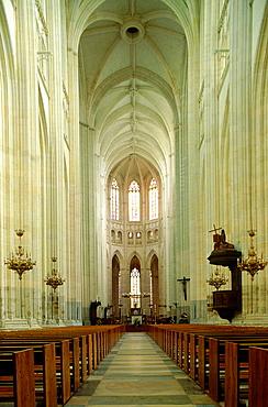 France, Pays De La Loire, Loire Atlantique (44), Nantes, Medieval Gothic Cathedral Nave