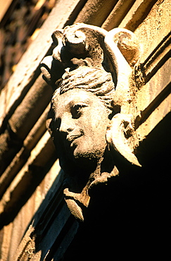 France, Burgondy, Cote D'or (21), City Of Dijon, Entrance Of An Historic Mansion, Keystone Carved As A Woman Head
