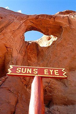 Usa, South West, Arizona & Utah, Navajo Reservation Of Monument Valley, Window In Red Rocks Called Suns Eye By Navajo