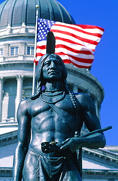 Usa, South West, Utah, Salt Lake City, The Capitol Dome And Monument To The Iute Native Americans