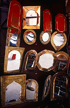 Morocco, South, Marrakech, The Souks (Covered Markets), Mirrors Stand