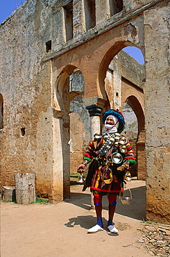 Morocco, Rabat, Mr Mohamed Water Seller In Costume Proposing Free Drink Inside The Chellah Palace Ruins