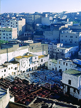 Morocco, Historical City Of Fes, Elevated View Over The Tanners Souk (Market) Where Skins Are Treated