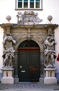 Slovenia, Ljubljana (Lubiana), The Baroque Stone Porch Of A Xvii Th Century Building Featuring Two Atlantes