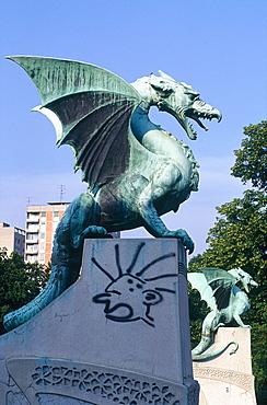 Slovenia, Ljubljana (Lubiana), The Flying Lizards Bridge, Detail Of The Bronze Sculptures