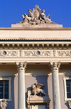 Slovenia, Adriatic Coast, Piran, The Classical Style City Hall Facade With A Venetian Lion