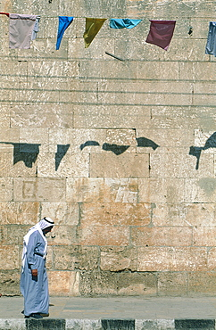 Syria, Orontes Valley, Apamea, The Museum Established In A Turkish Khan (Caravanserai), Man Passing Along The Facade