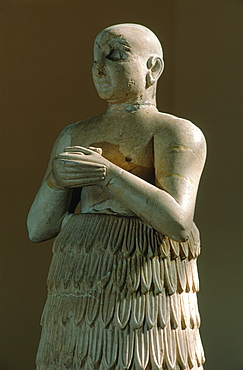Syria, Aleppo, Archeological Museum, Closeup Of A Very Valuable Mesopotamian Statue