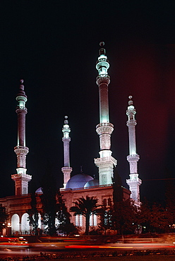 Syria, Aleppo, The New Mosque Illuminated At Night
