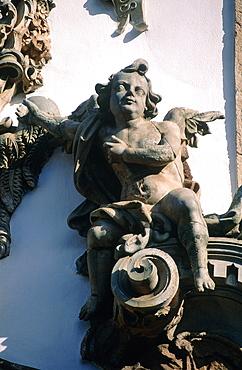 Brazil, Minas Gerais, The Historic City Of Ouro Preto, Church Igreja De Sao Francisco De Assis, Detail Of A Stone Angel On The Main Facade