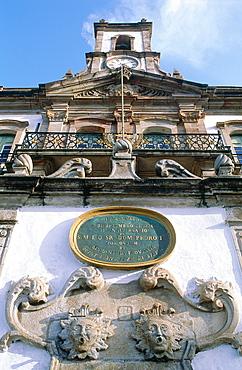 Brazil, Minas Gerais, The Historic City Of Ouro Preto, Square Praca Tiradentes, The Former Governor's Palace Facade