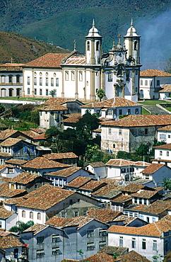 Brazil, Minas Gerais, Overview On The Historic City Of Ouro Preto, On Top Of A Hill Church Igreja De Sao Francisco De Assis