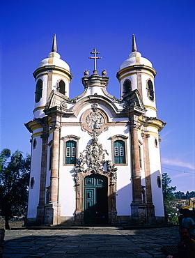 Brazil, Minas Gerais, On Top Of A Hill The Baroque Church Igreja De Sao Francisco De Assis