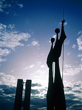 Brazil, Goias, Brasilia, The Administrative Capital Created Par President Kubitschek And Designed By Brasilian Town Planner Lucio Costa & Architect Oscar Niemeyer, Bruno Giorgi Sculpture Gueireros Dedicated To Brasilia Workers In Counterlight