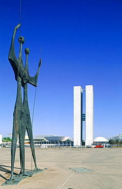 Brazil, Goias, Brasilia, The Administrative Capital Created Par President Kubitschek And Designed By Brasilian Town Planner Lucio Costa & Architect Oscar Niemeyer, Bruno Giorgi Sculpture Gueireros Dedicated To Brasilia Workers On The Three Powers Square