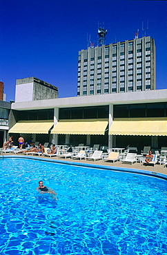 Brazil, Goias, Brasilia, The Administrative Capital Created Par President Kubitschek And Designed By Brasilian Town Planner Lucio Costa & Architect Oscar Niemeyer, Swimming Pool In The Housing Area