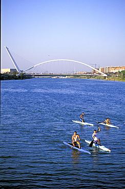 Spain, Andaloucia, Sevilla, Cruise On The Guadalquivir River, Rowers