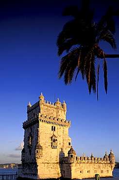 Portugal, Lisbon (Near), Belem, The Stone Tower Built On Tagus River From 1515 To 1525, Palme At Fore