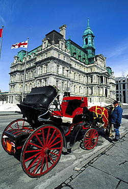 Carriage by the City Hall, Montreal, Quebec, Canada, North America