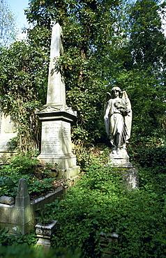 Stone angel, Highgate cemetery, London, England, UK, Europe