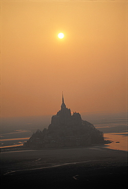 Mt St Michel In Mist, Aerial, Normandy, France