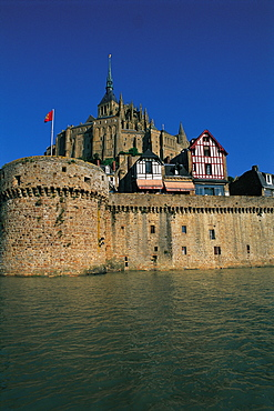 Mt St Michel, High Tide, Ramparts, Normandy, France