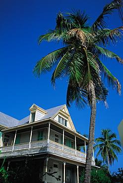 Victorian House And Palme, Key West, Florida, Usa