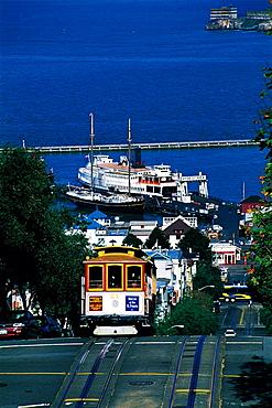 Mason Street, Cable-Car & Harbour At Rear, San Francisco, Usa